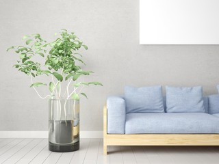 Mock up poster living room with a trendy sofa and a large plant.
