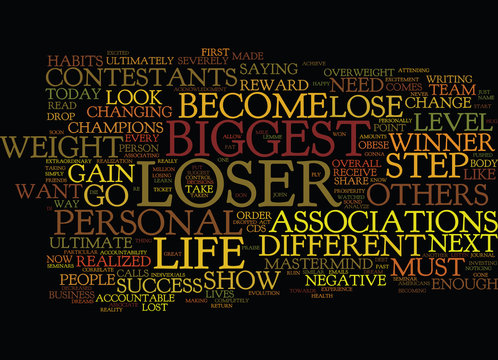 THE BIGGEST LOSER Text Background Word Cloud Concept