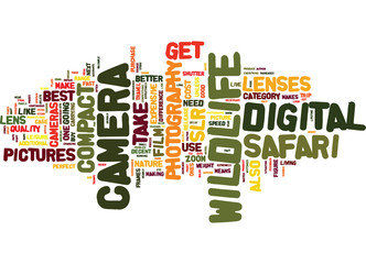 THE BEST WILDLIFE CAMERA TO TAKE ON SAFARI Text Background Word Cloud Concept