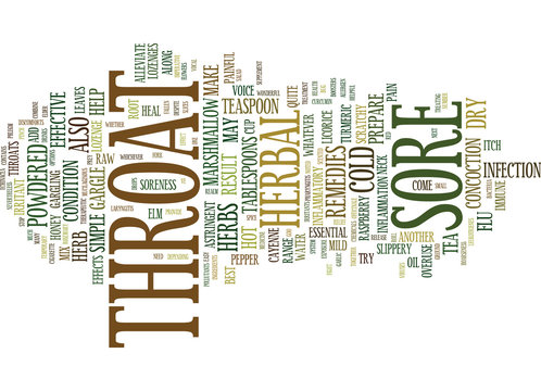 THE BEST HERBAL REMEDIES FOR SORE THROAT AND HOARSENESS Text Background Word Cloud Concept