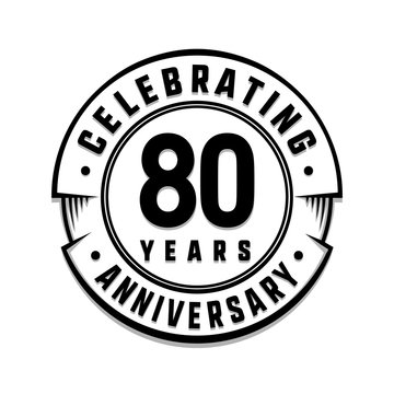 80 years anniversary logo template. Vector and illustration.