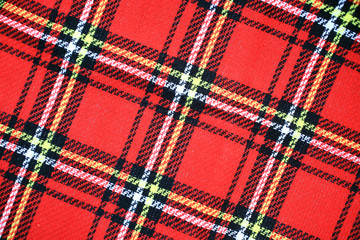 Red Scottish tartan plaid material pattern background