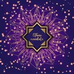 Card with glow mandala. Vector background. Geometric circle element. Islam, Arabic, Indian, turkish, chinese, ottoman motifs