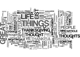 THE ART OF THANKFULNESS Text Background Word Cloud Concept