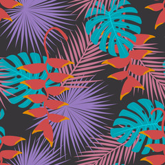 tropical exotic palm mostera leaves heliconia hanging flower art seamless pattern. tropic foliage plant repeatable texture