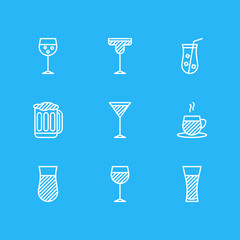 Vector Illustration Of 9 Drinks Icons. Editable Pack Of Juice, Cocktail, Lemonade And Other Elements.