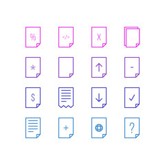 Vector Illustration Of 16 Paper Icons. Editable Pack Of Question, Upload, Plus And Other Elements.