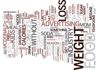 THE ADS MADE ME EAT Text Background Word Cloud Concept
