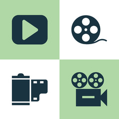 Music Icons Set. Collection Of Play, Video, Filmstrip And Other Elements. Also Includes Symbols Such As Begin, Film, Play.