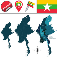 Map of Myanmar with Divisions