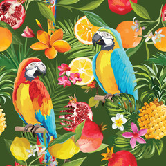Ingelijste posters Papegaai Seamless Tropical Fruits and Parrot Pattern in Vector. Pomegranate, Lemon, Orange Flowers, Leaves and Fruits Background.