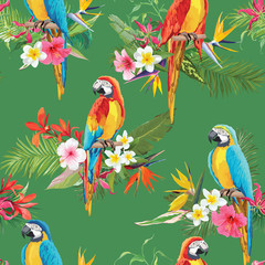 Foto op Canvas Papegaai Tropical Flowers and Parrot Birds Seamless Background. Retro Summer Pattern in Vector