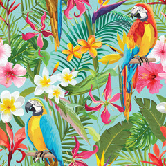 Tropical Flowers and Parrots Seamless Vector Floral Summer Pattern. For Wallpapers, Backgrounds, Textures, Textile