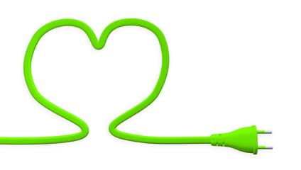 énergie durable fiche prise électrique verte cœur