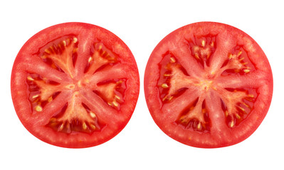 Tomato slice isolated on white background