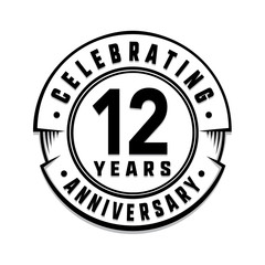 12 years anniversary logo template. Vector and illustration.