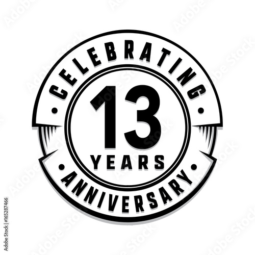 13 Years Anniversary Logo Template Vector And Illustration Stock