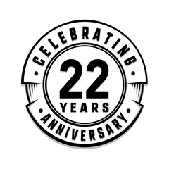 22 years anniversary logo template. Vector and illustration.