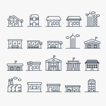 Building And House Minimalistic Line Icon Set. Shop, store, skyscraper, bus stop, pharmacy, drugstore, hospital, factory, cafe, gas station.