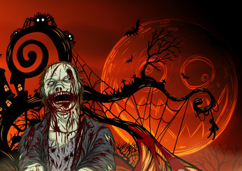 Halloween zombie background.Dead man by hand drawing.