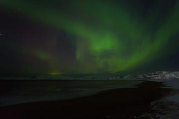 Aurora Borealis (Northern Lights) above coastal sea