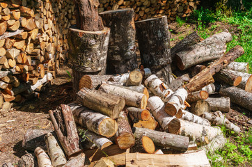 A woodpile of firewood, beautifully pinned and laid.