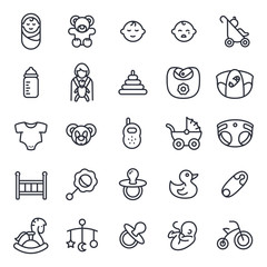 Baby World Minimalistic Flat Line Icon Pictogram Symbol Set Collection