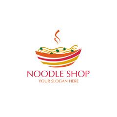 noodle on colorful bowl logo. isolated on white background.