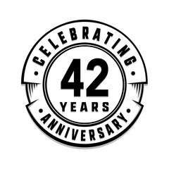 42 years anniversary logo template. Vector and illustration.