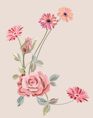 Pattern with pink rose and gerbera daisy, embroidery (imitation satin stitches) red, pink flowers, leaves on vintage background, digital draw, decorative illustration, ornament for fashion, vector