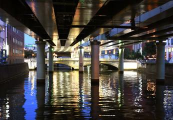 日本の東京都市風景・夜景(日本橋などを望む)