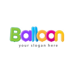 balloon word logo shaped with colorful balloons, isolated on white background.