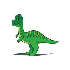 green cartoon dinosaur illustration, isolated on white background.