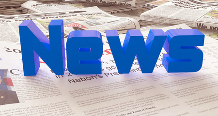 blue news word 3d illustration with newspaper
