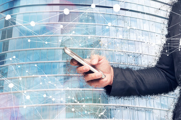 Fototapete - Digital transformation of internet of things technology disruption , big data ,online shopping concept. Neural networks connect atoms , business man using smart phone and building glass. 3d rendering