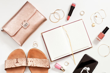 Shopping and fashion concept. Set of  stylish woman accessories. Top view point, flat lay