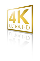 4K Ultra HD Perspective Shiny Golden Logo