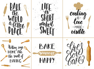 Lamas personalizadas para cocina con tu foto Set of vector bakery lettering posters, greeting cards, decoration, prints. Hand drawn typography design elements. Handwritten lettering. Modern ink brush calligraphy.