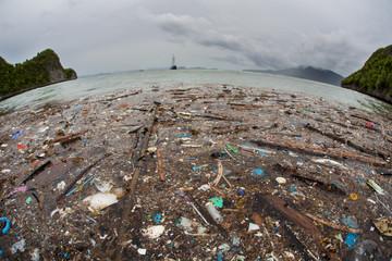 Plastic Trash Floats Near Island in Tropical Pacific Ocean