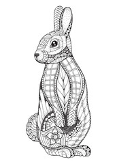 Rabbit standing. Zentangled and stippled vector illustration. Anti stress coloring book for adult and kids. Pattern.