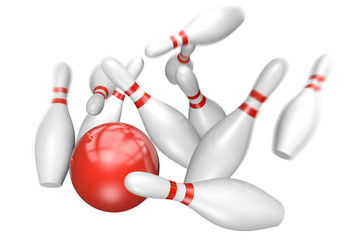Bowling strike concept of a red ball knocking down ten pins, 3D rendering