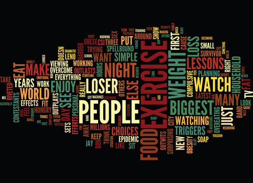 LESSONS FROM THE BIGGEST LOSER Text Background Word Cloud Concept