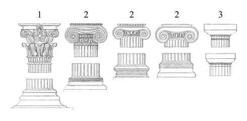1. Corinthian 2. Ionic 3. Doric columns - vintage illustration