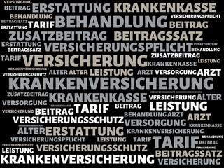 KRANKENVERSICHERUNG - Bilder mit Wörtern aus dem Bereich Krankenversicherung, Wort, Bild, Illustration