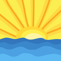 Sun and ocean waves, hand draw. Vector Illustration