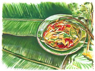 Thai food papaya salad hand painting