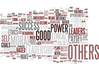 LEADERSHIP IS POWER TEST YOUR ETHICS Text Background Word Cloud Concept