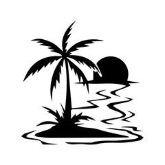 palm sea sun black silhouette