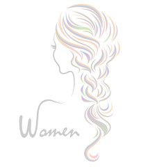 women color hairstyle icon, logo women on white background