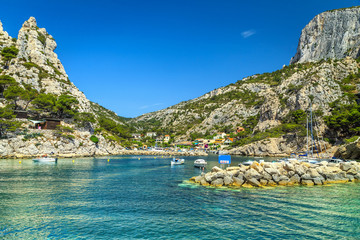 Wall Mural - Fishing harbor with rocky bay near Marseilles, Cassis, France, Europe